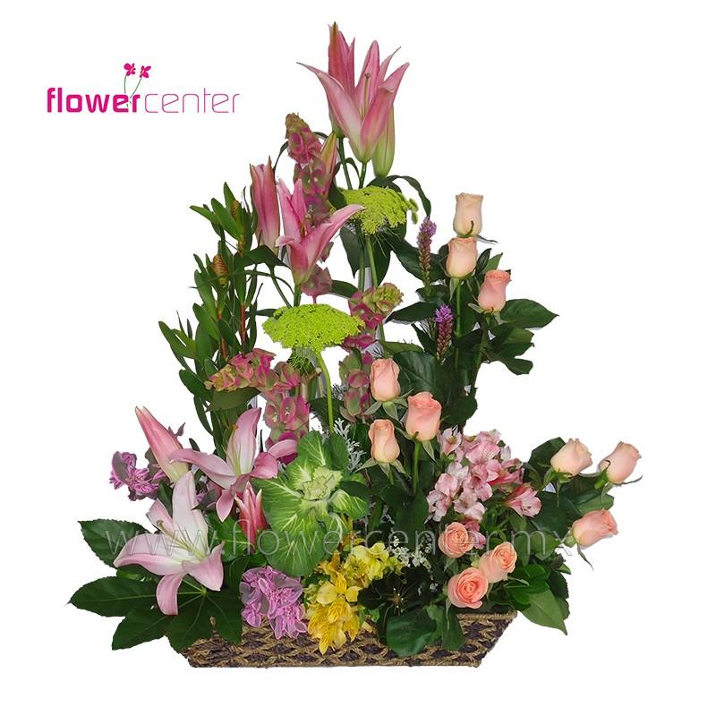 Canasta Floralrosasflorerias En Guadalajararamoslilisenvios Florales