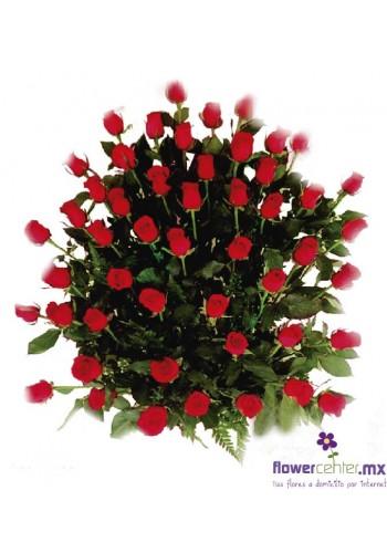 Canasta 50 Rosas Rojas