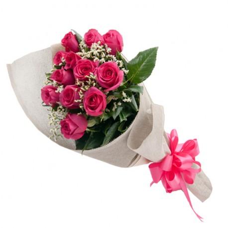 12 Rosas Rositas  Decoradas en Buquet