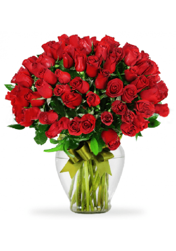 100 Rosas Rojas en Jarron