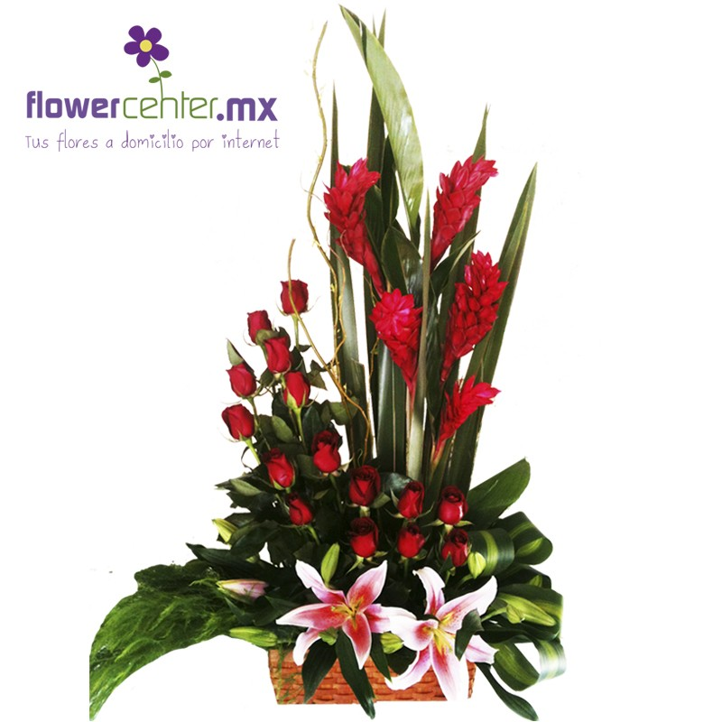 Canasta Floralrosasflorerias En Guadalajararamoslilisenvios Floralesanturiosexoticos