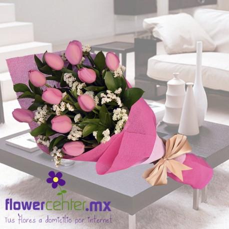 Bouquet de 10 Tulipanes Rosas Sv