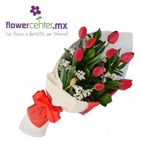 Bouquet de 10 Tulipanes Rojos Sv