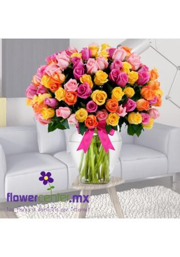 100 Rosas Multicolor en Jarron de  $2,250 a  $1,850