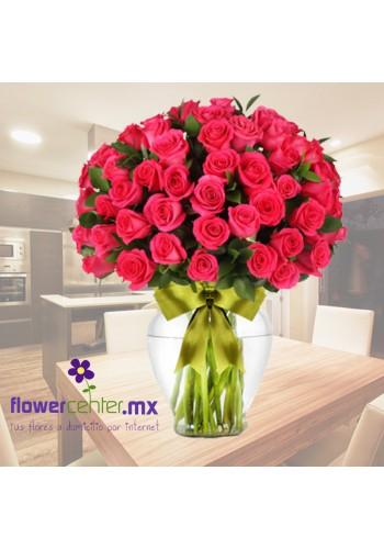 100 Rosas Fiushas en Jarron De 2,250 a 1,350