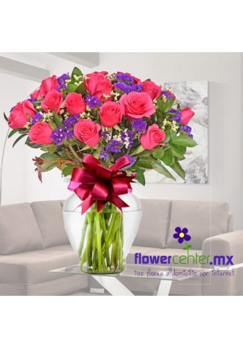 24 Rosas Fiusha en Jarron