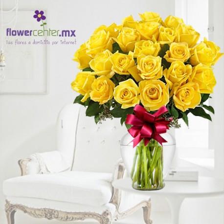 24 Rosas Amarillas en Jarrron