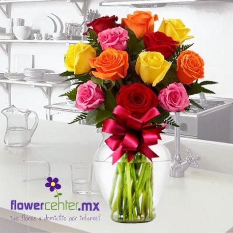 12 Rosas Multicolor