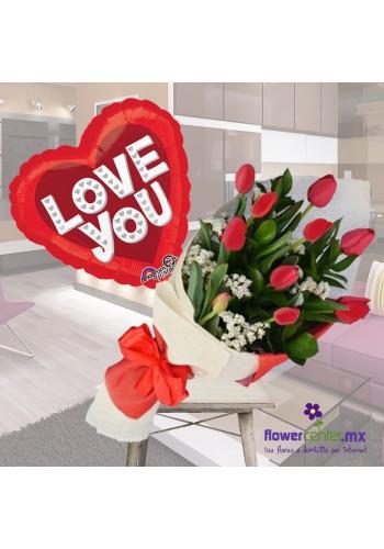 Combo Bouquet de 10 Tulipanes Rojos De: $510.00 A: 450.00